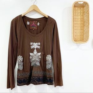 Johnny Was Long Sleeve Embroidered Top Shirt